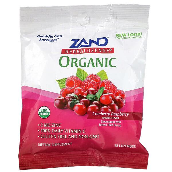 Organic Herbalozenge, Cranberry Raspberry, 18 Lozenges
