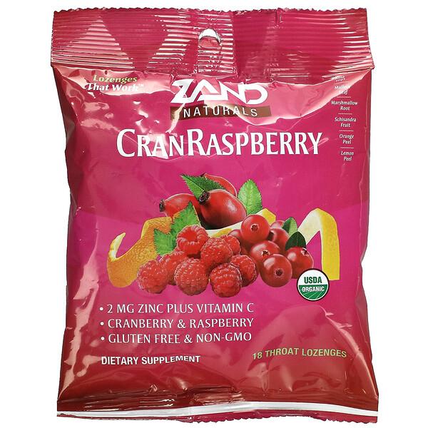 Naturals, Organic CranRaspberry, 18 Throat Lozenges