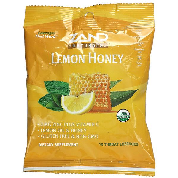 Naturals, Organic Lemon Honey, 18 Throat Lozenges