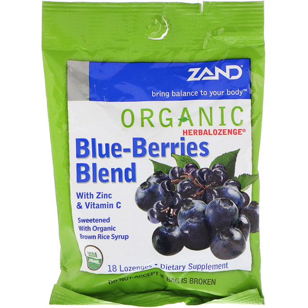 Zand, Organic Herbalozenge, Blue-Berries Blend, 18 Lozenges
