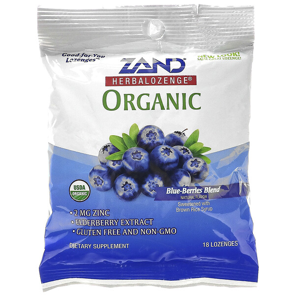 Organic Herbalozenge, Blue-Berries Blend, 18 Lozenges