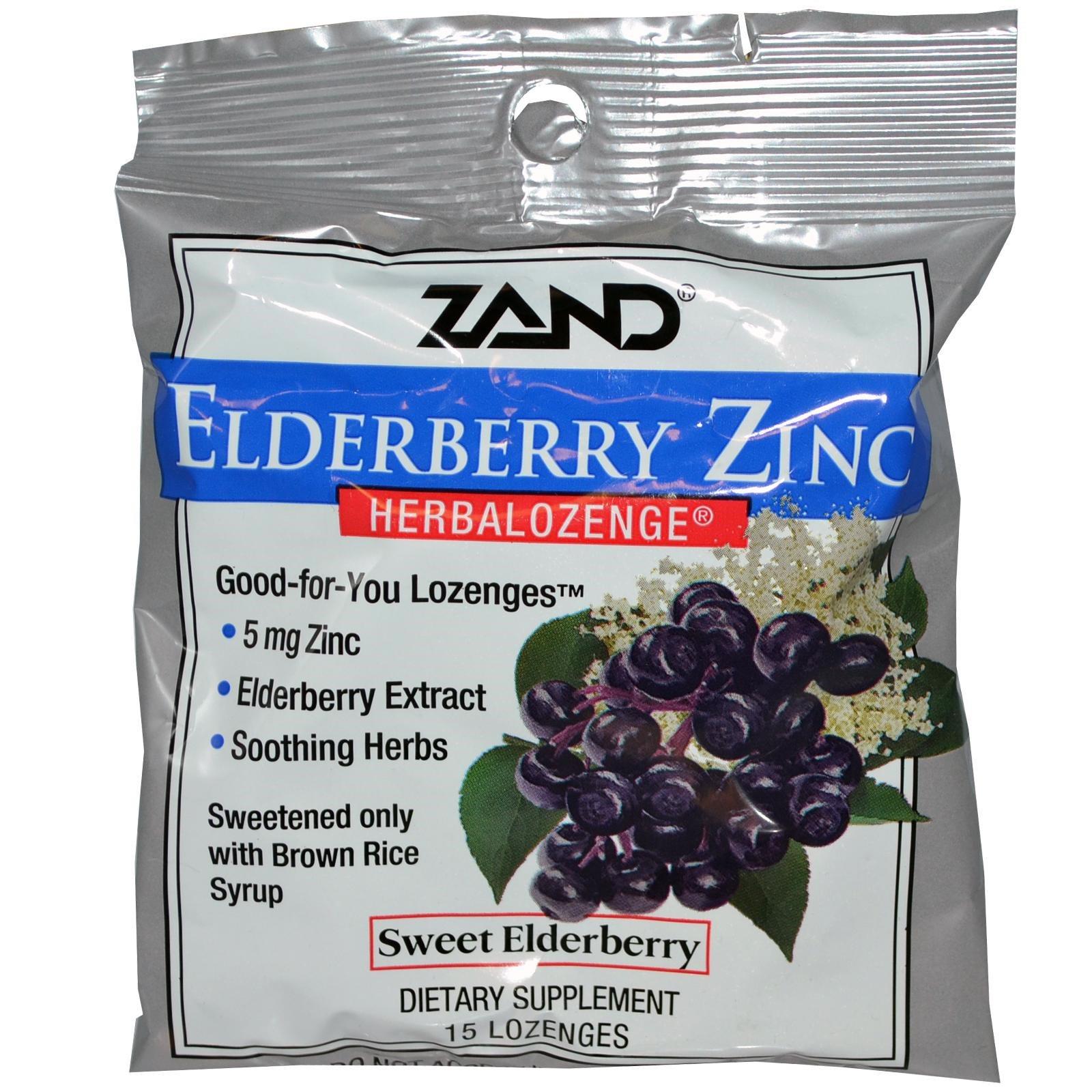 Zand Elderberry Zinc Herbalozenge Sweet Elderberry 15 Lozenges