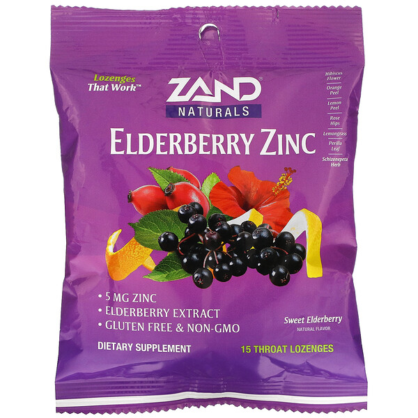 Elderberry Zinc, Sweet Elderberry, 15 Throat Lozenges