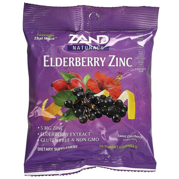 Elderberry Zinc, Sweet Elderberry, 15 Throat Lozenges