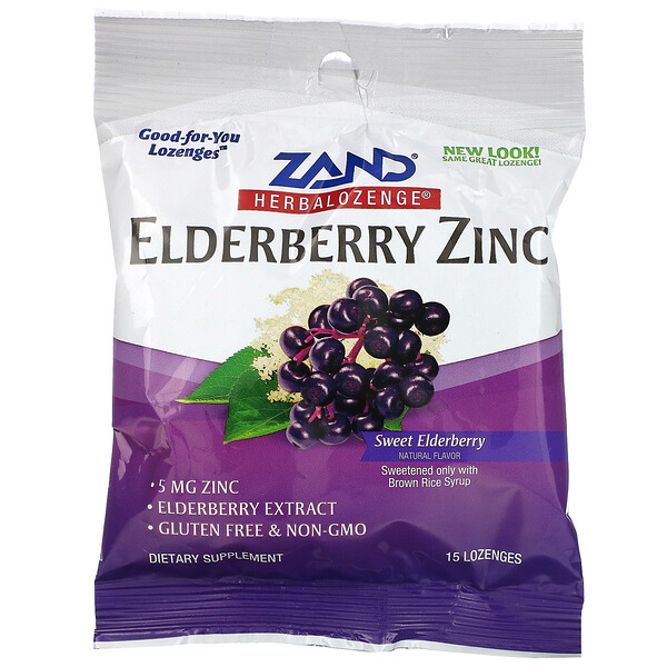 Elderberry Zinc, Herbalozenge, Sweet Elderberry, 15 Lozenges