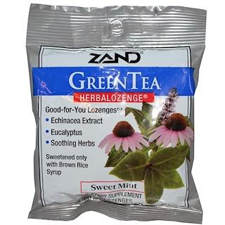 Zand, 緑茶、ハーバロゼンジ、スイートミント、15トローチ錠