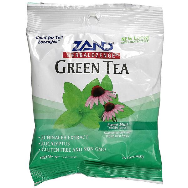Herbalozenge, Green Tea, Sweet Mint, 15 Lozenges