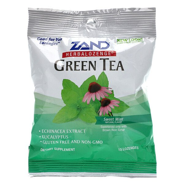 GreenTea, Herbalozenge, Sweet Mint, 15 Lozenges