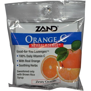Zand, Orange C, Herbalozenge, Zesty Orange, 15 Lozenges