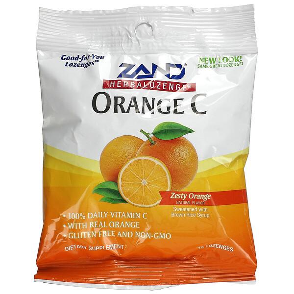 Herbalozenge, Orange C, Zesty Orange, 15 Lozenges