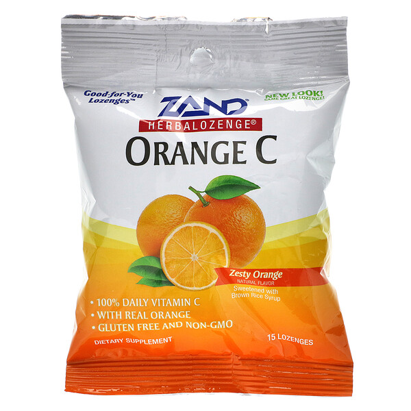 Orange C, Herbalozenge, Zesty Orange, 15 Lozenges