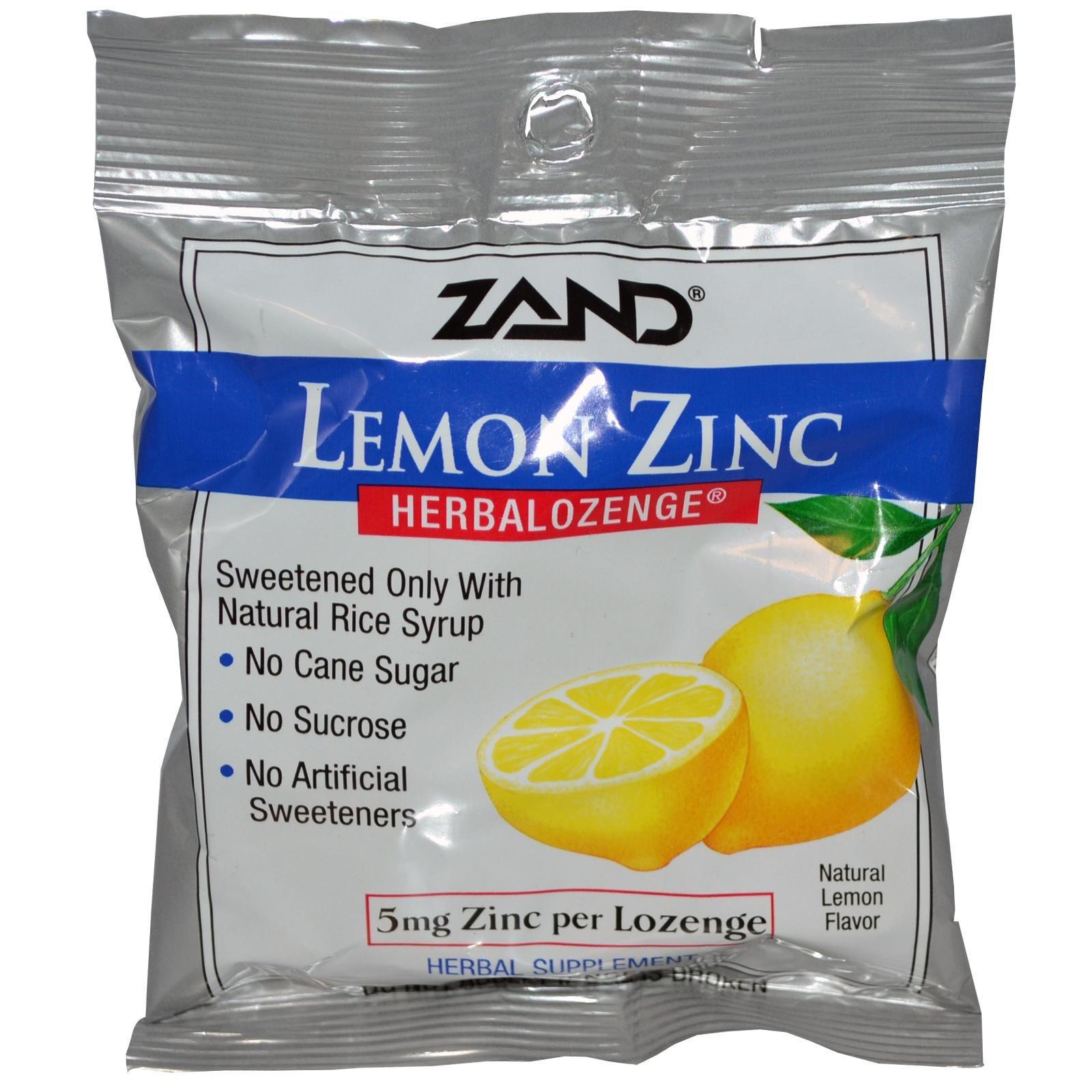 Zand, Лимон цинк, Herbalozenge, с натуральным ароматом лимона, 15 леденцов