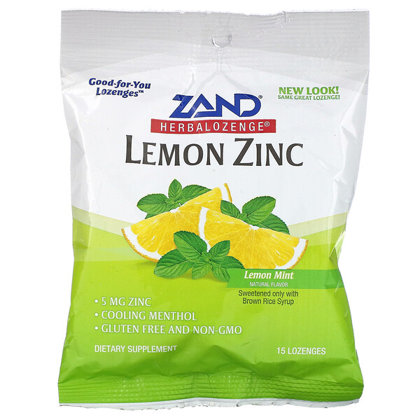 Lemon Zinc, Herbalozenge, Natural Lemon Flavor, 15 Lozenges