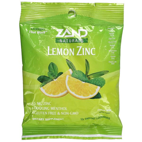 Naturals, Lemon Zinc, Lemon Mint, 15 Throat Lozenges