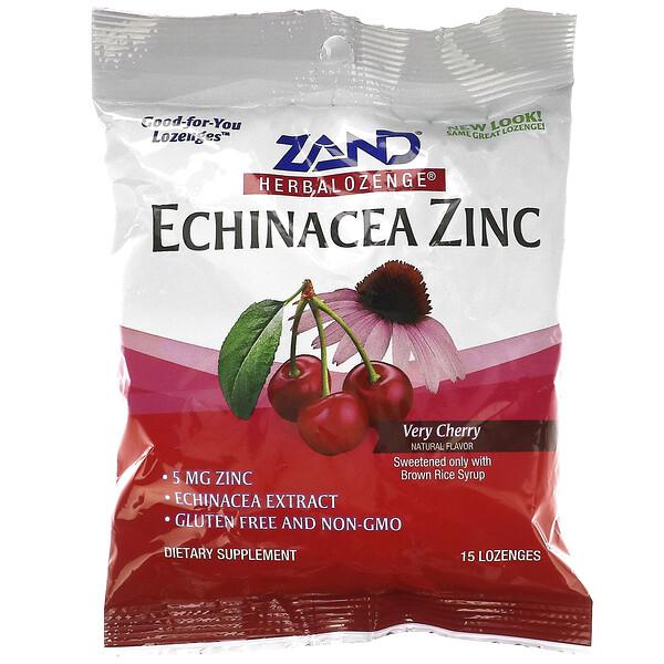 زنك القنفذية، Herbalozenge، كرزية للغاية، 15 حبة على شكل معين