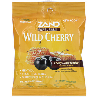 Zand, Wild Cherry, Honey Soother, 15 Throat Lozenges