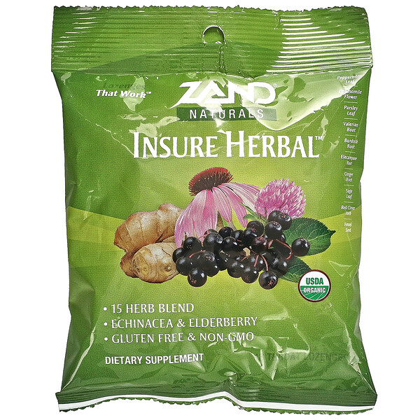 Naturals, Organic Insure Herbal, 18 Throat Lozenges
