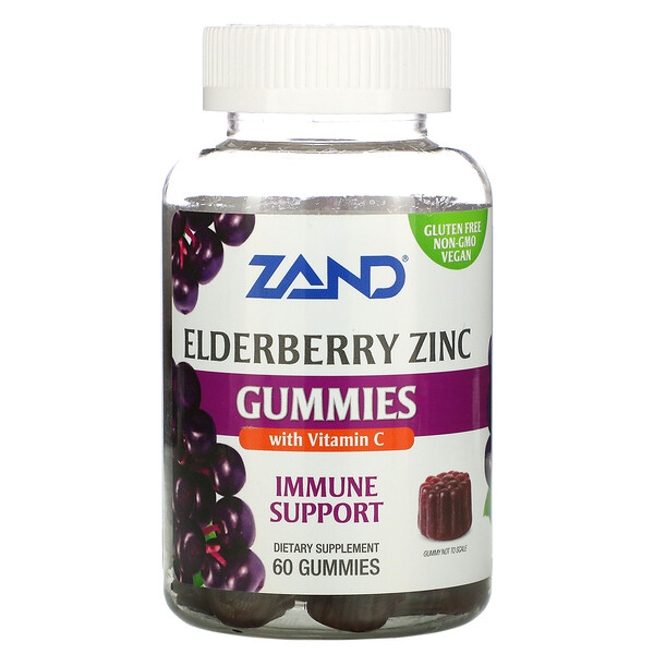 Zand, Immune Support, Elderberry Zinc with Vitamin C, 60 Gummies