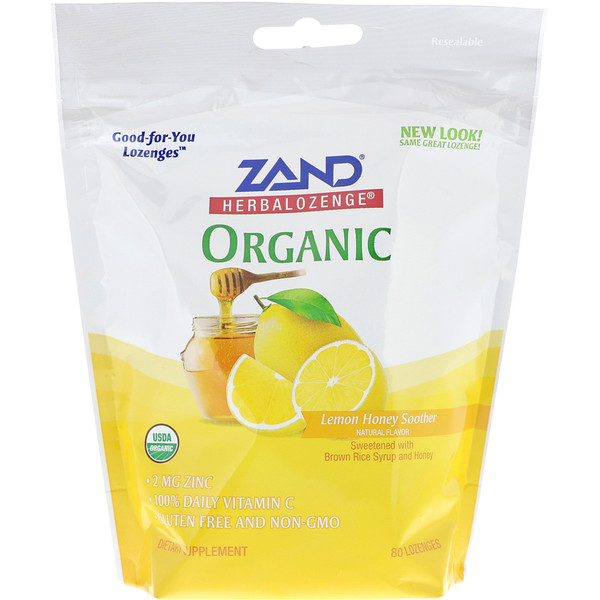 Zand, Organic Herbalozenge, Lemon Honey Soother, 80 Lozenges (Discontinued Item)