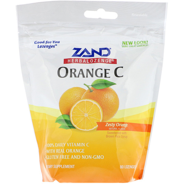 Zand, Herbalozenge, Orange C, schmackhafte Orange, 80 Lutschtabletten (Discontinued Item)