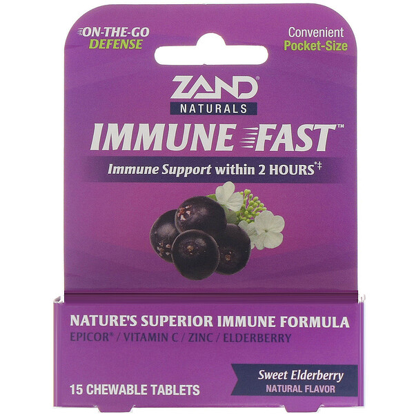 Zand, Immune Fast, Sweet Elderberry, 15 Chewable Tablets