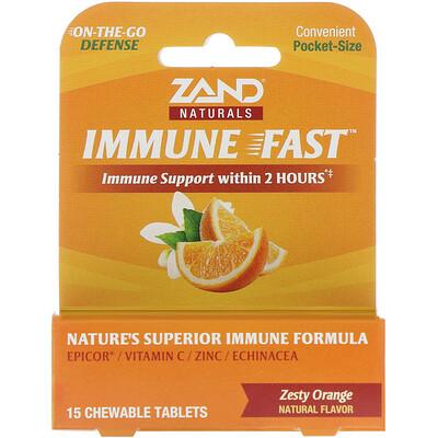 Купить Zand Immune Fast, пикантный апельсин, 15жевательных таблеток