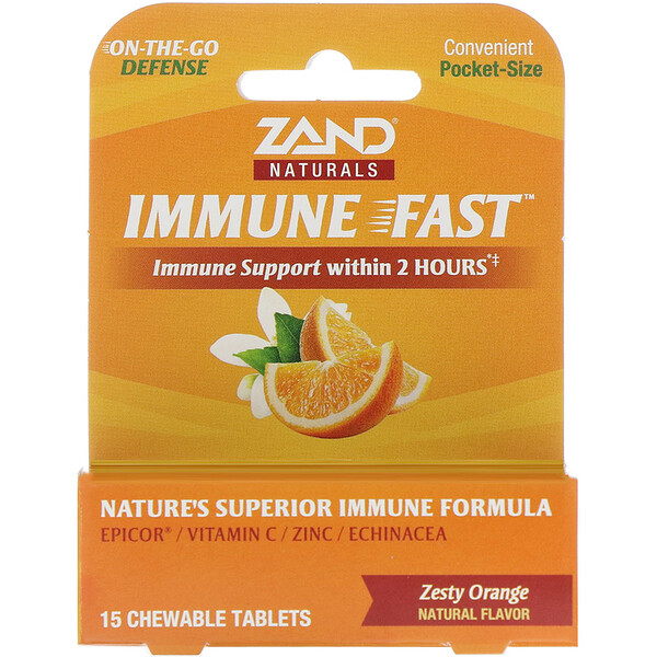 Immune Fast, Zesty Orange, 15 Chewable Tablets