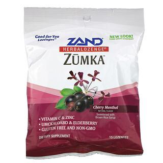 Zand, Zumka, Herbalozenge, со вкусом вишни и ментола, 15 леденцов