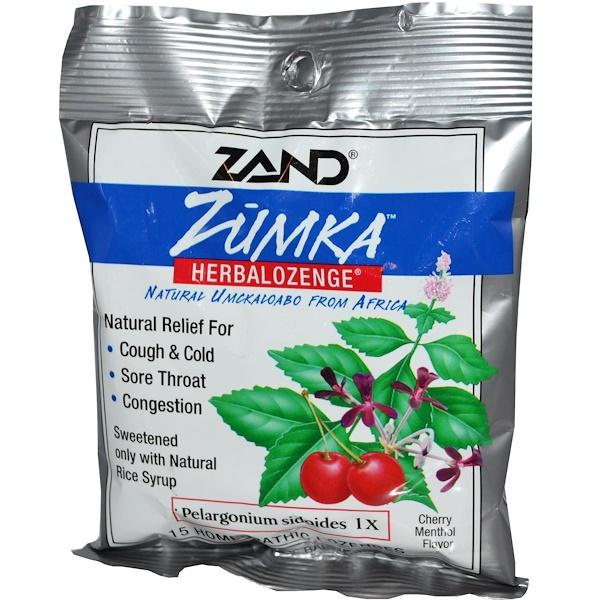 Zand, Zumka,草本錠劑,櫻桃薄荷味,15片順勢含片