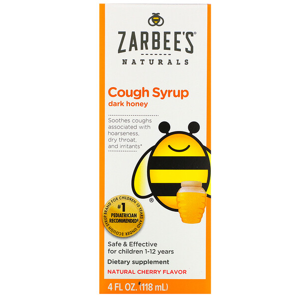 Children's Cough Syrup, Dark Honey, For Children 12 Months+, Natural Cherry Flavor, 4 fl oz (118 ml)