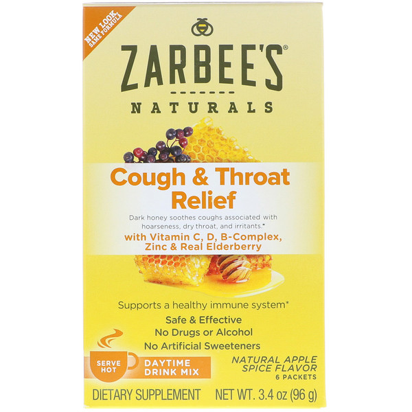 Zarbee's, Cough & Throat Relief, Daytime Drink Mix, Natural Apple Spice Flavor, 6 Packets, 3.4 oz (96 g) (Discontinued Item)