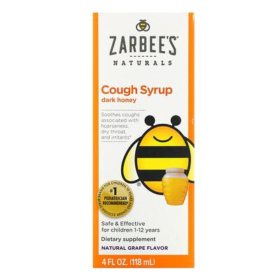 Zarbee's Children's Cough Syrup, Dark Honey, For Children 12 Months+, Natural Grape Flavor, 4 fl oz (118 ml)