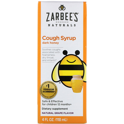 Childrens Cough Syrup, Dark Honey, Natural Grape Flavor, 4 fl oz (118 ml)