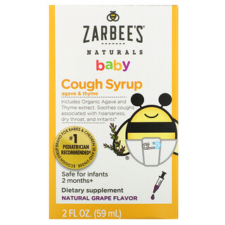 Zarbee's, Baby, Cough Syrup, Agave & Thyme, Natural Grape Flavor, 2 fl oz (59 ml)
