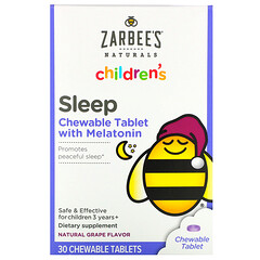 Zarbee's, 兒童,褪黑荷爾蒙睡眠支持補充劑,適合 3 歲及以上兒童,天然葡萄味,30 片咀嚼片