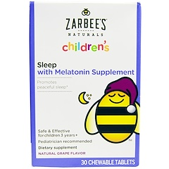 Zarbee's, Children's, Sleep with Melatonin Supplement, Natural Grape, 30 Chewable Tablets