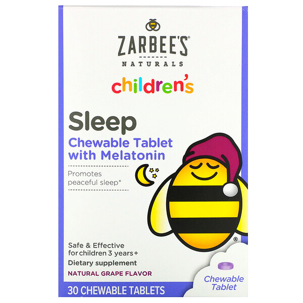 Children's, Sleep with Melatonin Supplement, For Children 3 Years +, Natural Grape Flavor, 30 Chewable Tablets