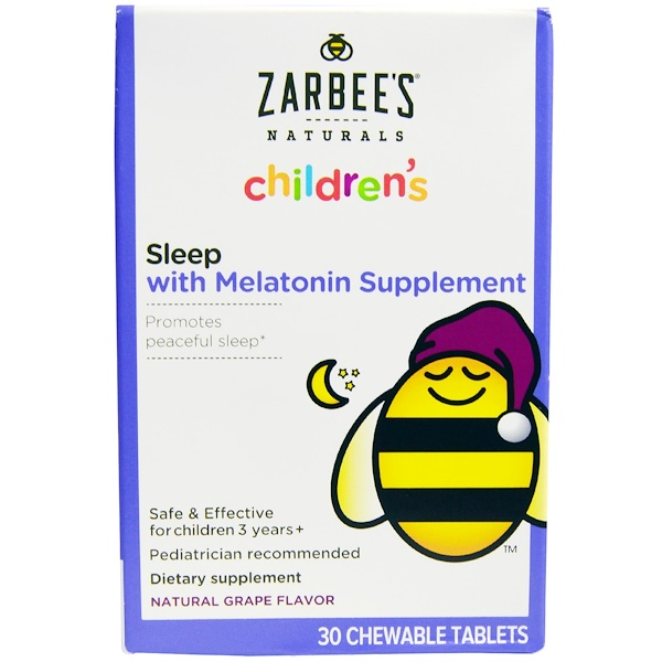 Zarbee's, Children's, Sleep with Melatonin Supplement, Natural Grape, 30 Chewable Tablets