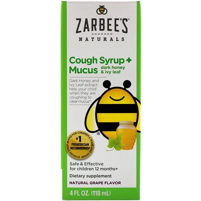Childrens Cough Syrup + Mucus, Dark Honey & Ivy Leaf, Natural Grape Flavor, For Children 12 Months+, 4 fl oz (118 ml)