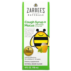 Zarbee's, 兒童咳嗽緩解化痰糖漿,深色蜂蜜和常春藤葉,適合 12 個月及以上兒童,天然葡萄味,4 液量盎司(118 毫升)