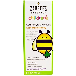 Zarbee's, Naturals, Children's Cough Syrup + Mucus, with Dark Honey, Natural Grape Flavor, 4 fl oz (118 ml)