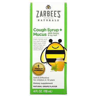 Zarbee's, Children's Cough Syrup + Mucus, Dark Honey & Ivy Leaf, For Children 2-12 Years, Natural Grape, 4 fl oz (118 ml)