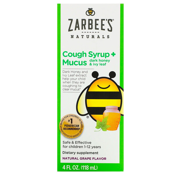 Zarbee's, Children's Cough Syrup + Mucus, Dark Honey & Ivy Leaf, For Children 12 Months+, Natural Grape Flavor, 4 fl oz (118 ml)