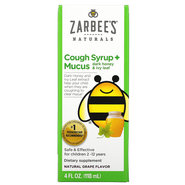 Zarbee's, детский сироп от кашля с отхаркивающим действием, с темным медом и листом плюща, с натуральным вкусом винограда, для детей возрастом 12 месяцев и старше, 118 мл (4 жидк. унции)