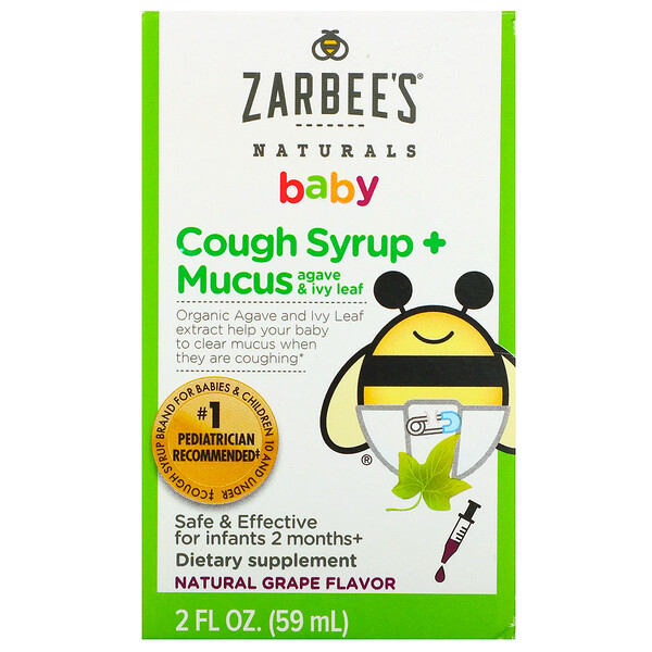 Zarbee's, Baby, Cough Syrup + Mucus, Agave and Ivy Leaf, Natural Grape Flavor, 2 fl oz (59 ml)