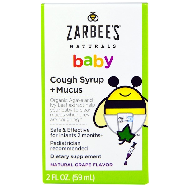 Zarbee's, Baby, Cough Syrup + Mucus, Natural Grape Flavor, 2 fl oz (59 ml)