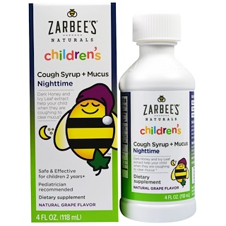 Zarbee's, Children's Nighttime Cough Syrup + Mucus, Natural Grape Flavor, 4 fl oz (118 ml)