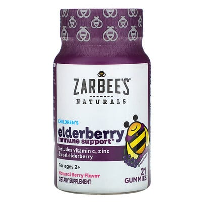 Купить Zarbee's Mighty Bee, средство с бузиной для укрепления иммунитета у детей, натуральный ягодный вкус, 21жевательная конфета