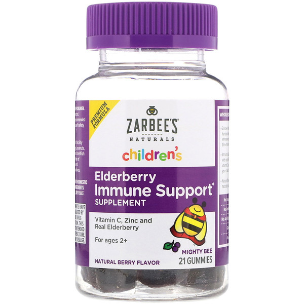 Zarbee's, Children's, Mighty Bee, Elderberry immune Support, Natural Berry, 21 Gummies