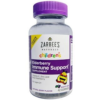Zarbee's, Naturals, Children's Elderberry Immune Support, Natural Berry Flavor, 42 Gummies